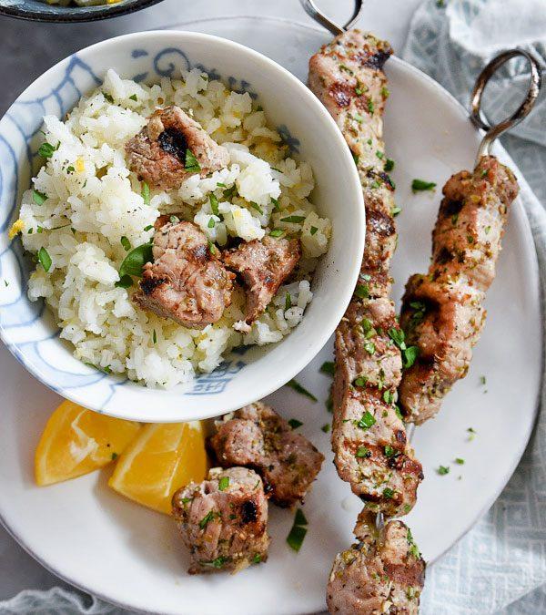 Pork Souvlaki with Lemon Rice
